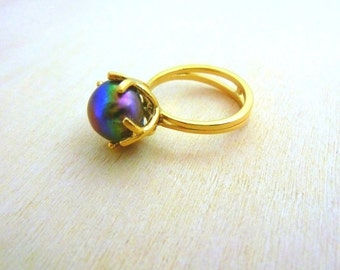 Pearl Ring  GOLD Filled jewelry Black Pearl  pearl jewellery birthstone ring