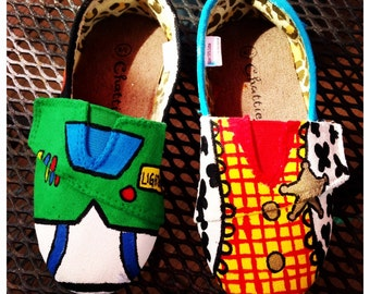 Toy Story Hand Painted Buzz and Woody Shoes