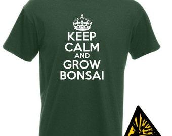 Keep Calm And Grow Bonsai T-Shirt Joke Funny Tshirt Tee Shirt Gift Bonsia Tree