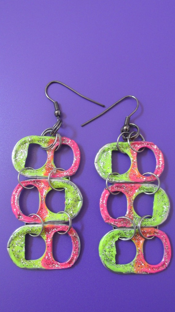 Summertime, upcycled earrings in a glittery pink and yellow!