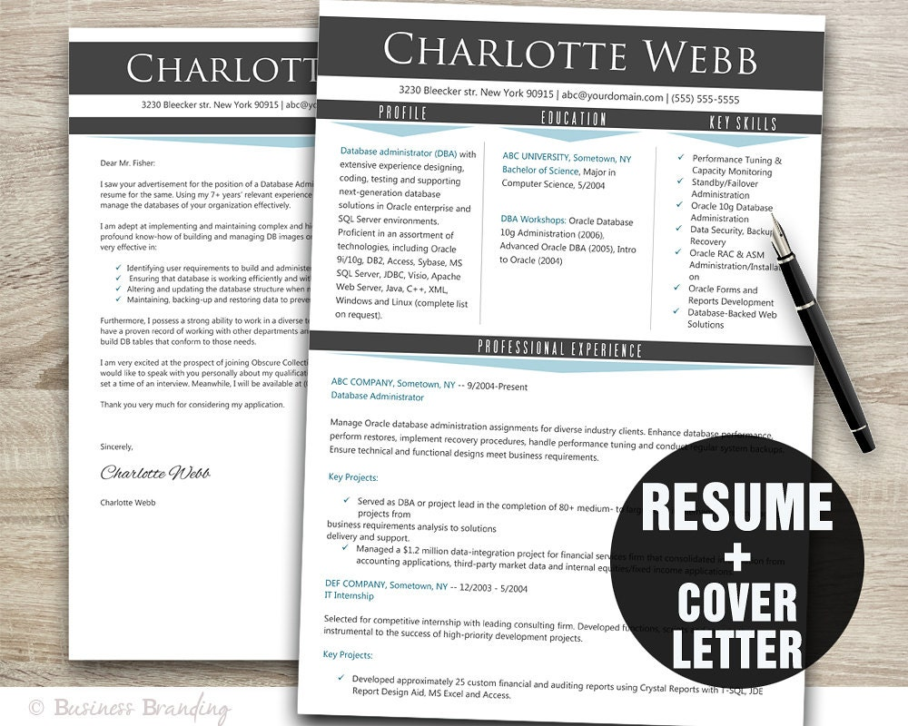 gray blue resume template cv template instant download