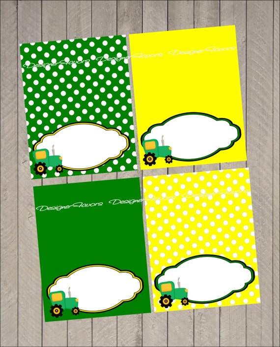 Tractor Time Food Label Tractor Table Tent Instant Download
