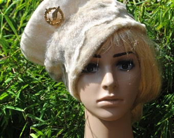 Fur Hat White Ivory and Ecru with Fur trim and Antique French badge. Handfelted wool