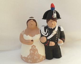 Wedding cake topper in clay - Italian carabiniere