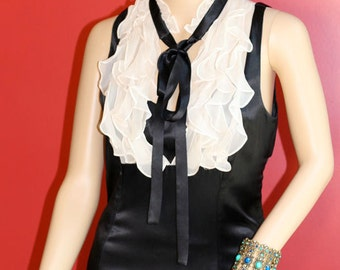 Victorian Vibe 100% Silk Ruffle Blouse
