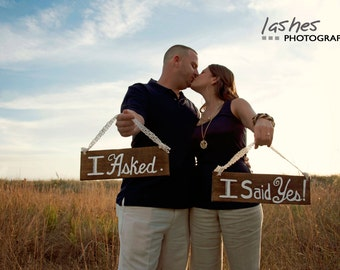 Engagement Photo Prop - I Asked, I Said Yes Sign - Engagement Photography Prop - Wedding