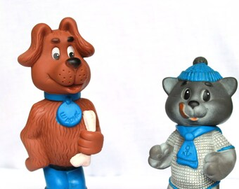 Soviet cartoon characters Excellent vintage rubber toys - Matroskin and Sharik – The Three from Prostokvashino - USSR doll – Soviet Union