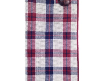 Maroon, Navy Blue and Gray Plaid Pocket Square