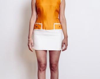 60's Silk Orange and Cream Sheath Dress