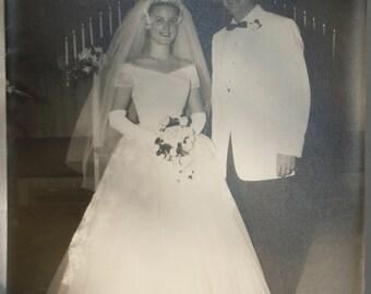 Smiling couple wedding photo