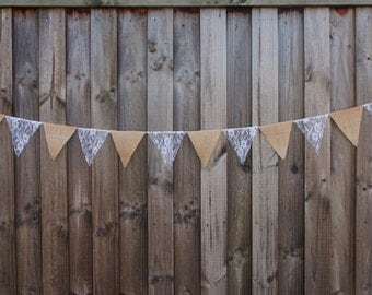 Burlap / Hessian and white lace bunting. Wedding or home decorations