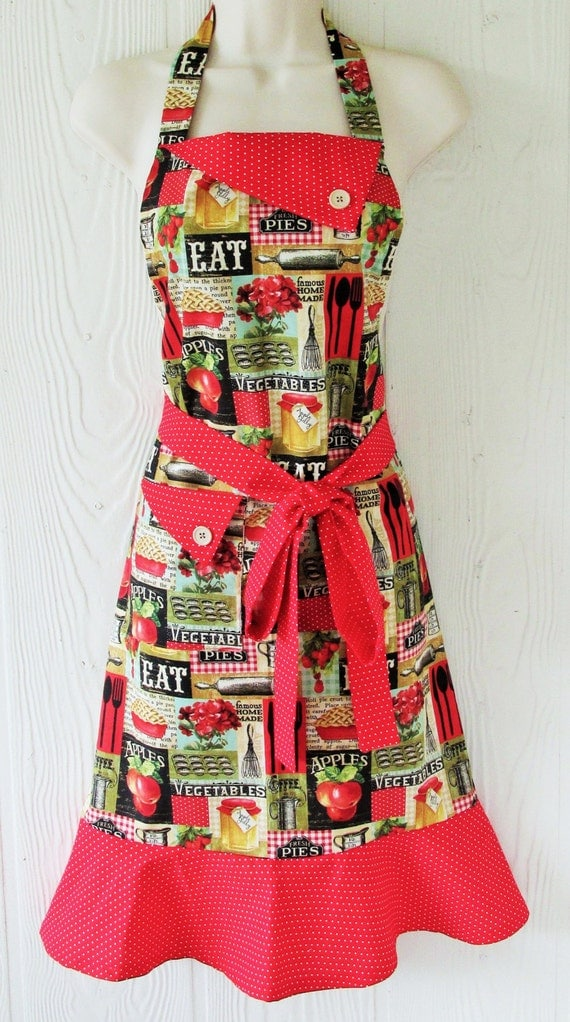 Farmhouse Kitchen Apron , Country Kitchen Inspired Apron , Retro Apron ...