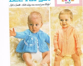 Baby Matinee Coats, Two baby jackets, Unisex Matinee Coats, Baby Knitted Matinee Coat Pattern. Knitting pattern only.