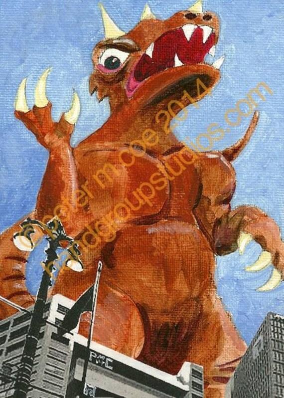 "Detroit Kaiju Ancient Dinosaur 5x7 Print ""Torgorro in the City"" Original Art Print by Pete Coe"