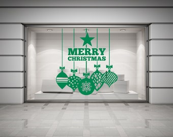 Merry Christmas, Baubles and Star self adhesive vinyl decal sticker for walls, windows, mirrors, doors, shop fronts and more.(#62)