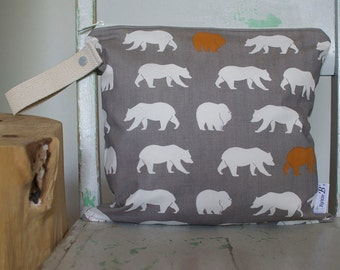 Organic Wet Bag with Bears in Grey, Cream and Rust - Waterproof Wetbag Swimsuit bag Nappy Bag Procare Liner