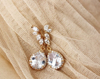 Gold Wedding Jewelry Gold Bridal Earrings Crystal Leaf Earrings Gold Wedding Earrings Gold Drop Earrings Dangle Earrings Gold Bridal Jewelry