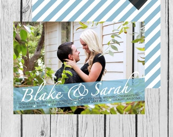 Picture, Stripes, Heart - Wedding Invitation / Bridal Shower / Baby Shower / Birthday - Digital and Printable Invitation