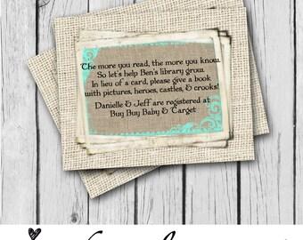 registry card gift bridal shower baby shower burlap bride
