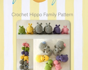 Crochet Hippo Family pattern-digital file