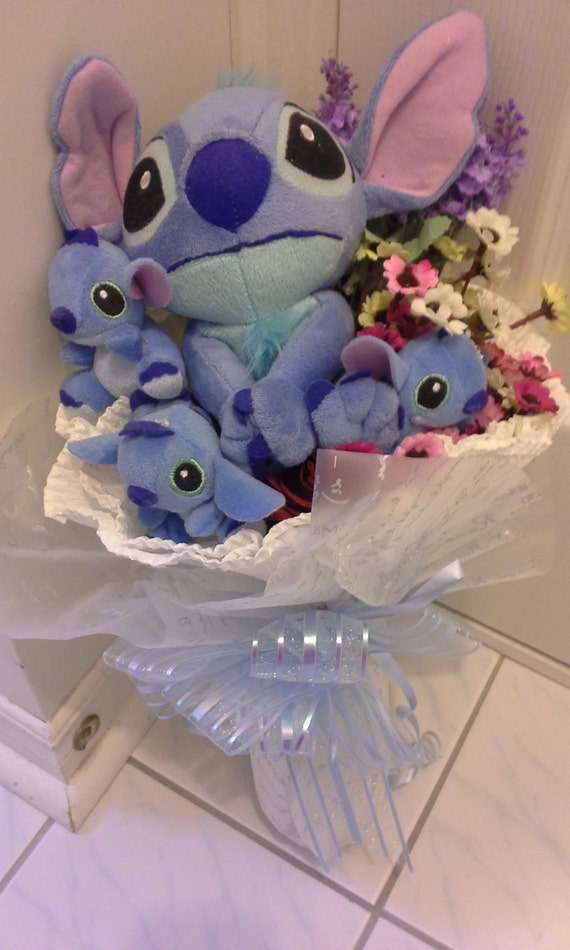 Cute Big Stitch With Baby Stitches Plush Doll Bouquet The