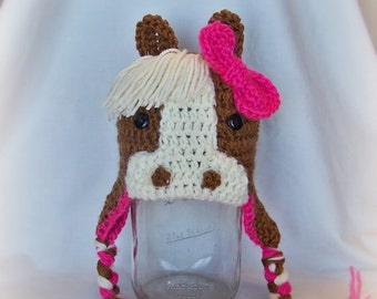 Crochet Horse Hats with Ear Flaps, Pony Hat, Winter Cap, Newborn to Adult, Made to Order