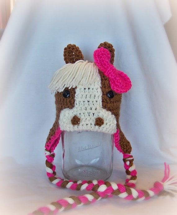 Amigurumi Horse Ears : Items similar to crochet horse hats with ear flaps pony