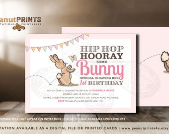 Some Bunny's Birthday Party Invitation - Printed OR Digital File - by peanutPRINTS