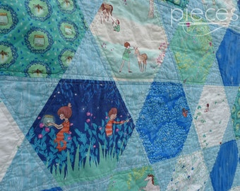 MADE to ORDER - Wee Wander Hexagon Baby Quilt - Baby Blanket - Throw Quilt - Sarah Jane Fabrics - Turquoise, Blue - Boy or Girl - Blanket