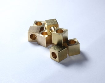 20 Pcs 8mm Raw Brass Cube Beads, Solid Brass Cube Beads, industrial spacer, Spacer Beads, KA49