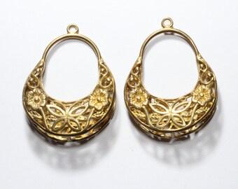 2 Pcs Raw Brass Filigree Earrings (24x33mm) Hoop Earrings- Filigree Leverback earrings