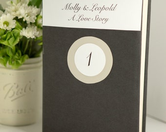 Wedding table numbers | Personalized wedding table numbers | Custom covered books