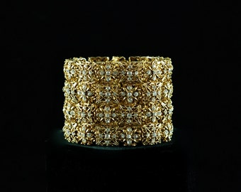 Vintage Four Row Clear Rhinestone and Gold-Colored Filigree Elastic Bracelet Cuff