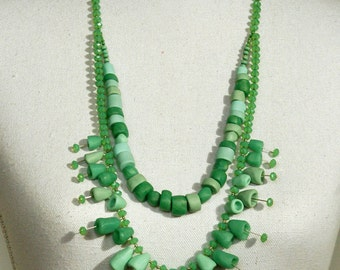 polymer clay necklace: bloomy pearls, light green