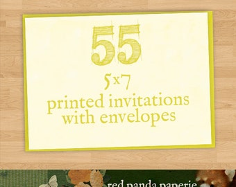 55 Printed 5x7 Invitations on Cardstock with Matching Envelopes