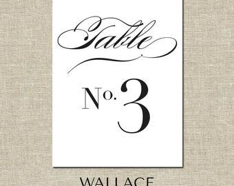 Printable Wedding Table Numbers   4.5x6.25 Digital File   Numbers 1-10   Kenesaw Style