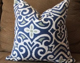 Handmade Decorative Pillow Cover - Blue - Green - Geometric Design