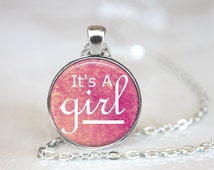 It's a girl jewelry necklace for expecting mother, Pink baby shower necklace for soon to be mother, It's a girl expecting wife necklace gift