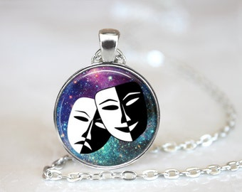 FREE SHIPPING Mask necklace, Smile now cry later mask jewelry, Masquerade necklace, Masquerade happy mask necklace, Sad necklace, Happy mask