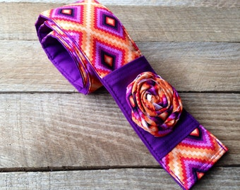 DSLR Camera Strap Cover-Lens Pocket and Padded-Aztec Camera Strap Cover-SLR / DSLR Camera Strap Cover-Purple-Orange- Ikat-Photographer Gift
