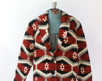Vintage 1980s Southwest Jacket Blazer // 80s Navajo Coat // New Identity // Small