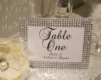 rhinestone frame with table number personalized wedding table numbers with rhinestone frames