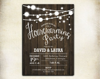 Rustic Housewarming Invitation / Printable Wood / Digital Invitation / Customized
