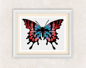 Abstract Butterfly Art Print - 8x10 PRINT - Colorful Abstract - Monarch Butterfly in Red, Purple, and Blue - Item #547B