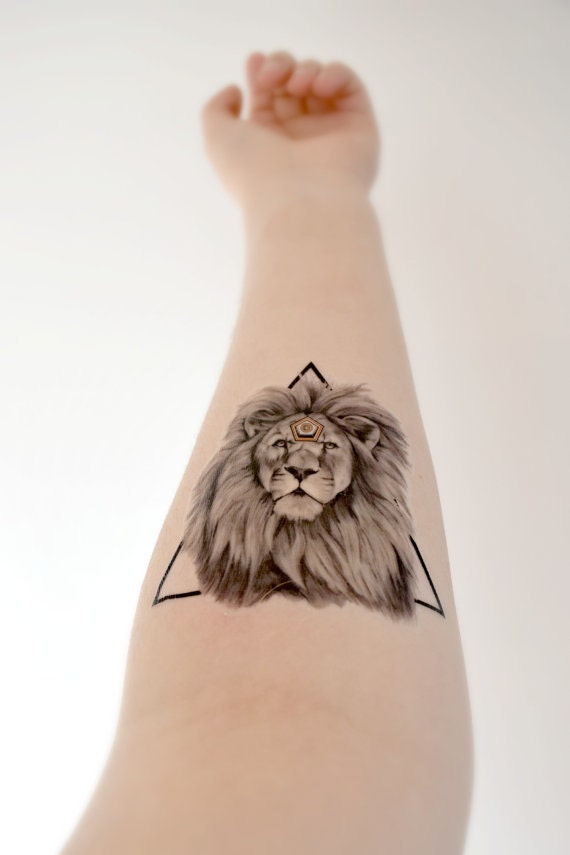 geometric lion temporary tattoo king strong triangle by
