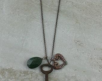 Vintage Skeleton Key Charm Necklace