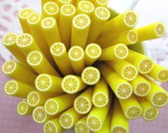 Lemon Polymer Clay Canes Fruit Slices, #381b