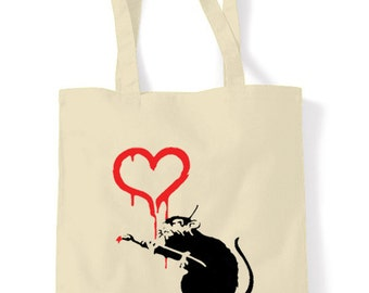 Banksy Love Rat Shopping Bag