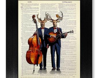 Music Art Print, Music Gift for Man Gift, Music Decor, Music Poster, Music Wall Art, Guitar Art, Cello Art, Music Room Decor, Deer Artwork