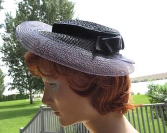 1940s Portrait Hat Navy Straw and Organza